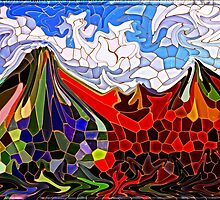 Psychedelic Mountains Abstract Stained Glass Mosaic by Beverly Claire Kaiya