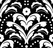 Art Deco Black and White Damask by AntiqueImages