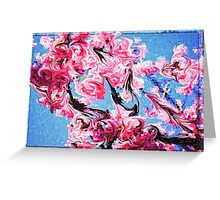 Abstract Swirling Cherry Blossoms Stained Glass Mosaic Greeting Card