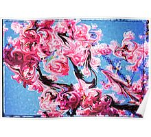 Abstract Swirling Cherry Blossoms Stained Glass Mosaic Poster