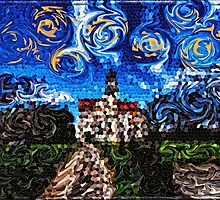 Starry Night Mosaic Church Swirling Stars Stained Glass by Beverly Claire Kaiya