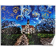 Starry Night Mosaic Church Swirling Stars Stained Glass Poster