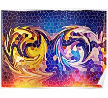 Two Dragons Sleeping Abstract Stained Glass Mosaic Poster