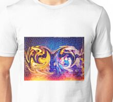 Two Dragons Sleeping Abstract Stained Glass Mosaic Unisex T-Shirt