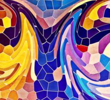 Two Dragons Sleeping Abstract Stained Glass Mosaic Sticker