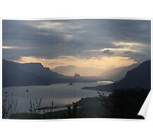 Overlooking Columbia River Gorge Poster