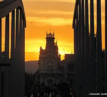 Barcelona - Sunset over the bridge by CJVisions
