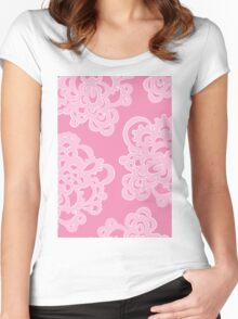 Pink Floral Women's Fitted Scoop T-Shirt