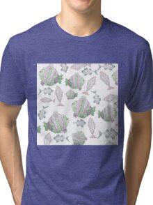 Fish Pattern Tri-blend T-Shirt