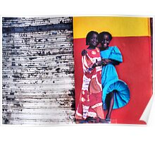 Girls on a Windy Street in Senegal Poster