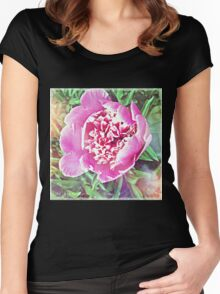 Pink Peony  Women's Fitted Scoop T-Shirt