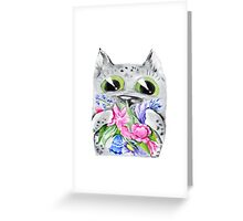 Watercolor cat with flowers Greeting Card