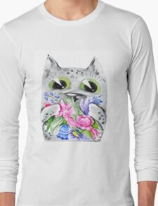 Watercolor cat with flowers T-Shirt