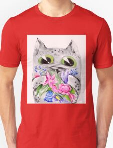 Watercolor cat with flowers Unisex T-Shirt