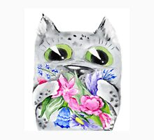 Watercolor cat with flowers Womens Fitted T-Shirt