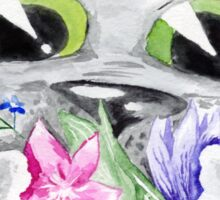 Watercolor cat with flowers Sticker