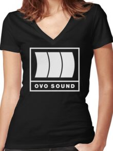 Ovo Sound Logo Funny Geek Nerd Women's Fitted V-Neck T-Shirt