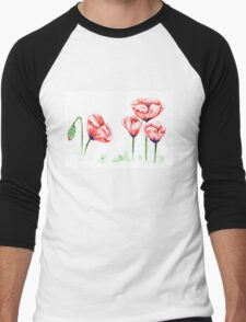 Watercolor poppies illustration Men's Baseball ¾ T-Shirt