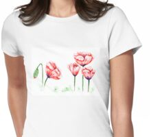 Watercolor poppies illustration Womens Fitted T-Shirt