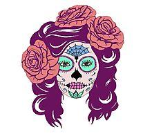Colorful Sugar Skull Woman Photographic Print