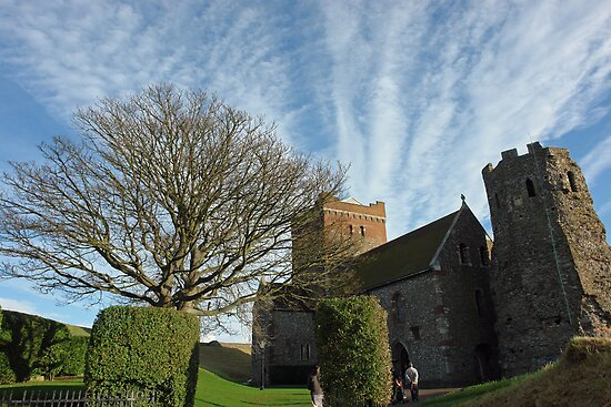 View of tree, greenery, St. Mary Church, and clouds in Dover Castle by ashishagarwal74