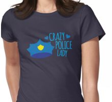 Crazy Police Lady Womens Fitted T-Shirt