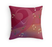 I Hear Music - Red Throw Pillow