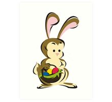 Easter Bunny with a Basket of Eggs Art Print