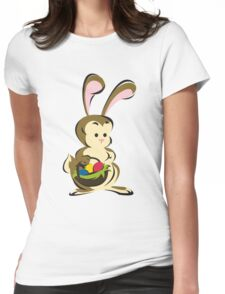 Easter Bunny with a Basket of Eggs Womens Fitted T-Shirt
