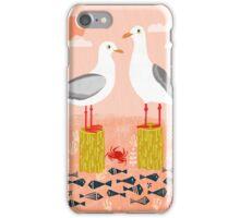 Seagulls - Bird Art, Coastal Nautical Summer Bird Print by Andrea Lauren iPhone Case/Skin