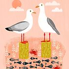 Seagulls - Bird Art, Coastal Nautical Summer Bird Print by Andrea Lauren by Andrea Lauren