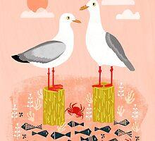 Seagulls - Bird Art, Coastal Nautical Summer Bird Print by Andrea Lauren by Andrea Lauren