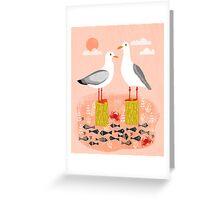 Seagulls - Bird Art, Coastal Nautical Summer Bird Print by Andrea Lauren Greeting Card