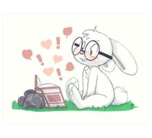 Dirty Bunny - Hearts and Exclamation Marks Art Print