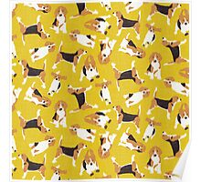 beagle scatter yellow Poster