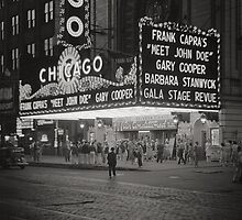 The Chicago Theater at Night, 1941 by historyphoto