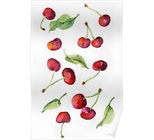 Watercolor  cherry. Raster illustration. Poster