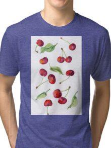 Watercolor  cherry. Raster illustration. Tri-blend T-Shirt