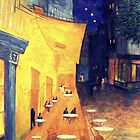 My Version /  Homage  to Vincent   &quot;  The Cafe&#x27; Terrace  at Night  &quot;     My Paintings                        by Rick  Todaro