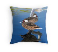 White Cheeked Pintails Throw Pillow