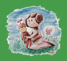 Princess Leia and Wookiee Doll Chewbacca STAR WARS fan art Kids Tee