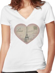 Paris in my heart Women's Fitted V-Neck T-Shirt