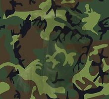 Woodland Green Camouflage with Hidden Face by sandyspider