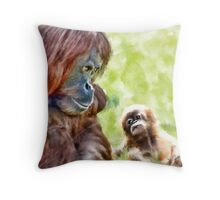 Orang Utan Mum & Baby Throw Pillow
