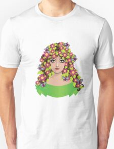 Girl with flowers and butterflies Unisex T-Shirt