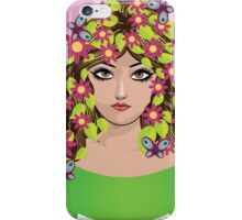 Girl with flowers and butterflies iPhone Case/Skin