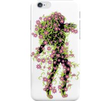 Girl with green floral and flowers iPhone Case/Skin