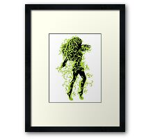 Girl with green floral Framed Print