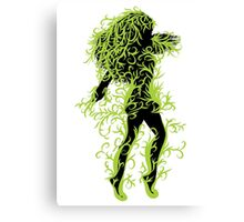 Girl with green floral Canvas Print