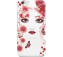 Girl with flowers and butterflies 2 iPhone Case/Skin